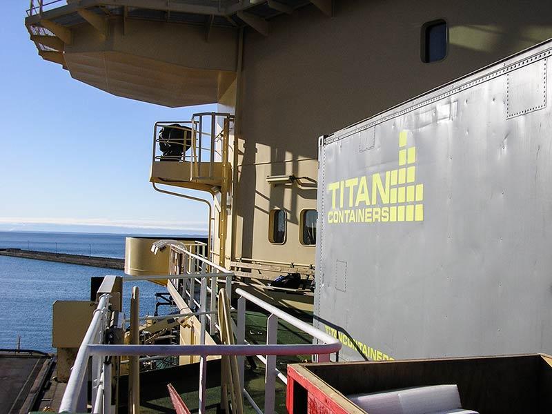Fryscontainern med detektorer installerad på Oden. Inne i containern finns isblocket på tre ton samt neutrondetektorer. Foto: Allan Hallgren