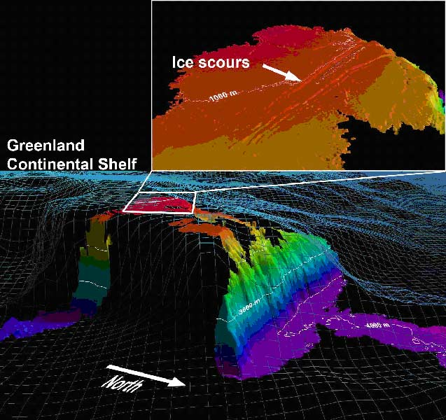 3D-view of the multibeam mapped Morris Jesup Rise (see Fig. 1 for general location). The International Bathymetric Chart of the Arctic Ocean (IBCAO) grid model is shown (blue grid) as a comparison to the new detailed multibeam bathymetry.