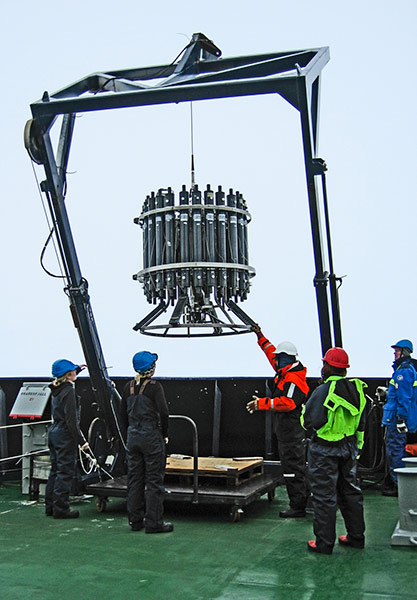 The CTD/rosette sampler on its way back from the water. Photo: Sofia Rickberg.
