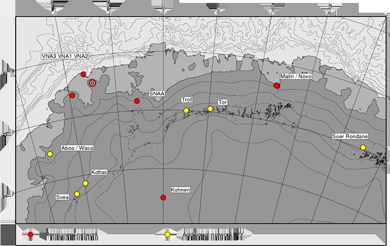 Karta över Dronning Maud Land som visar existerande och eventuellt framtida seimiska mätstationer.