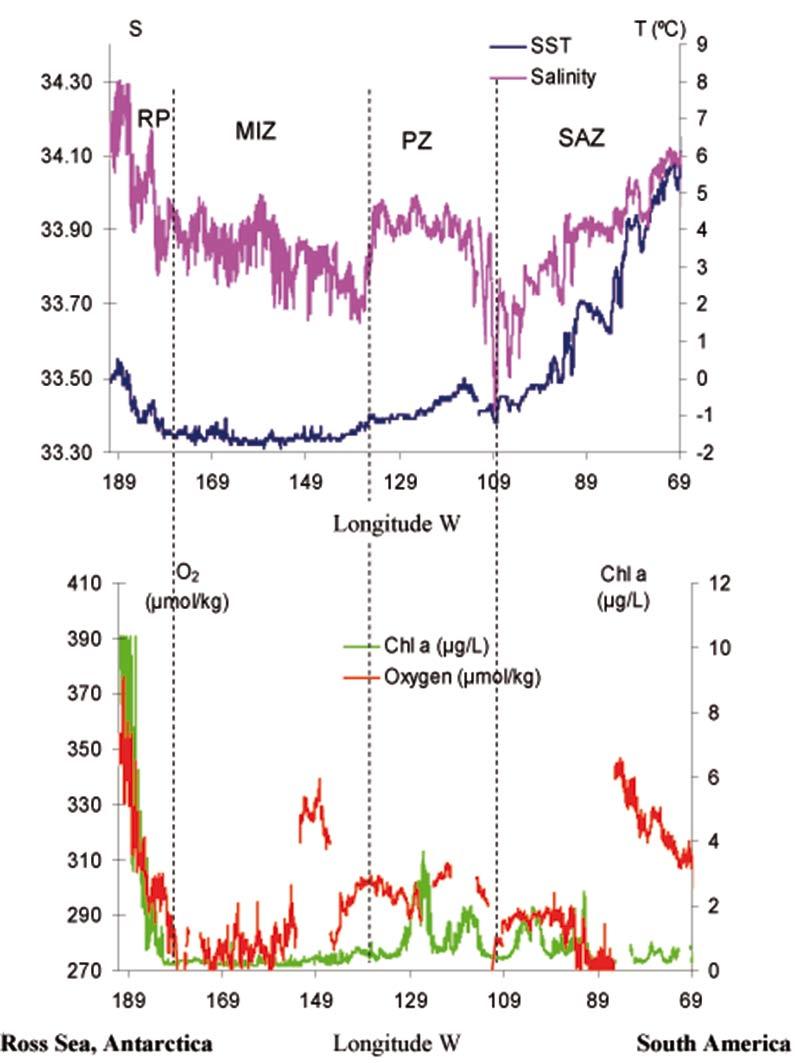 Variationen i salthalt (S), havsytans  temperatur (SST, ° C), klorofyll a fluorescens  (chl, μg/l)  och syre (μmol/kg) längs rutten. Indikationer (prickade  linjer) visar de ungefärliga platserna för  subantarktiskt område (SAZ), polarområde (PZ),  iskanten (Miz) och polynya vid Rosshavet (RP) utmed Odens rutt.