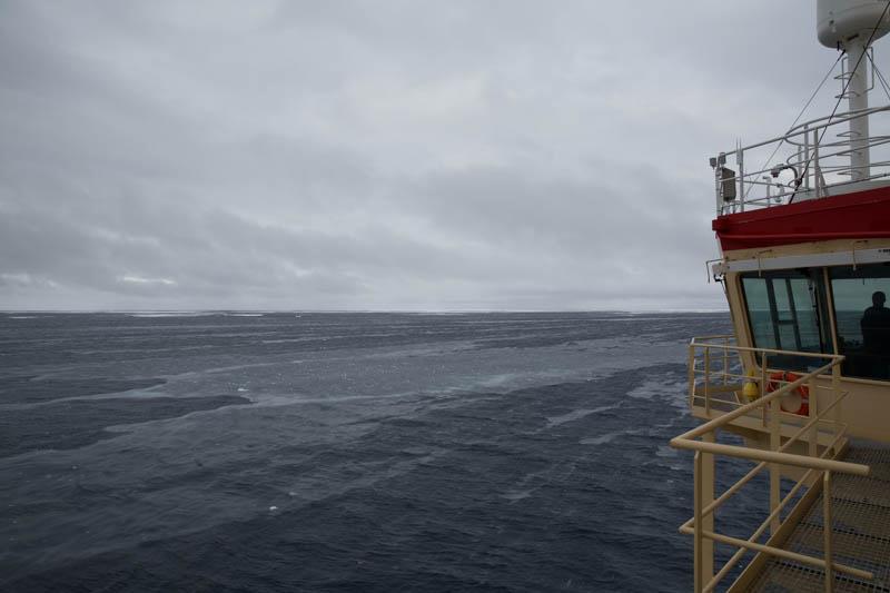 -4 ºC och 15 m/s. Havsvattnet är så kallt att det börjar frysa även om det går vågor på vattnet. Foto: Amund E.B. Lindberg