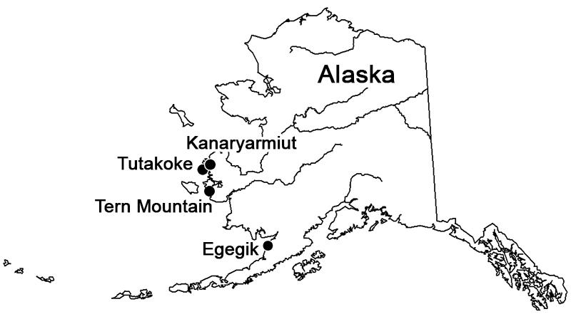 Karta som visar de platser som ingått i undersökningen i Alaska.