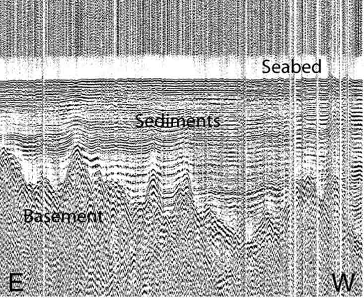 Part of seismic line acquired in the Amundsen Basin (water depth approximately 4 000 m).