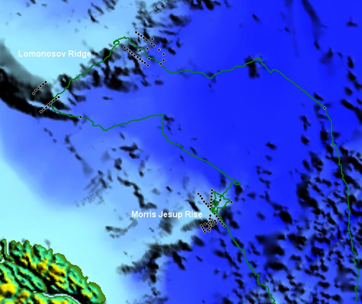 Location of the off-ship helicopter gravity profiles. Greenland at lower left.