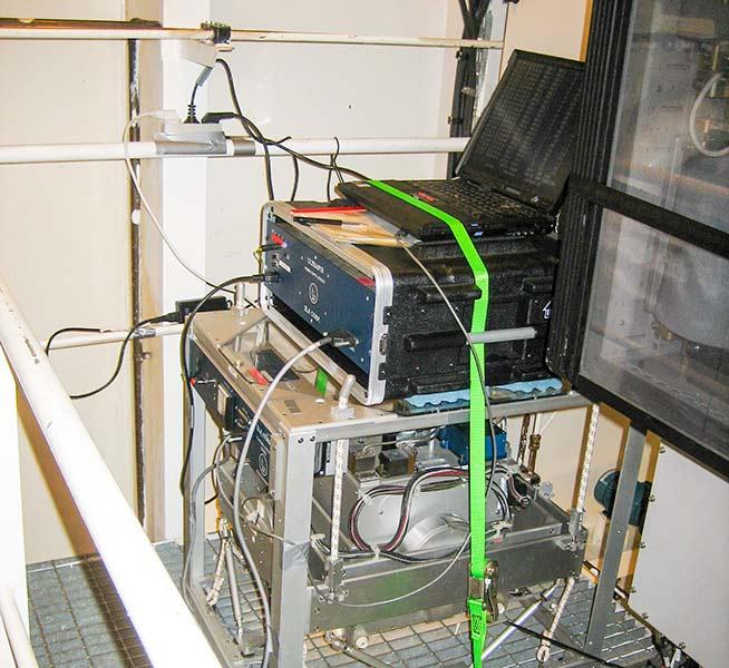 Marine gravimeter mounted in the engine room on board Oden. Photo: Rene Forsberg