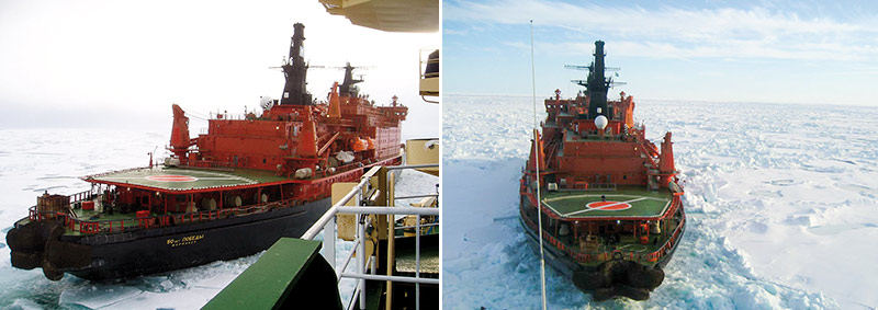 """Left: 50 let Pobedy under way alongside Oden to break the ice. Right: 50 let Pobedy reversing to """"pick up"""" Oden. These operations occurred often during seismic data acquisition due to the severe ice conditions in the area of investigation. Photos: Thomas Vangkilde-Pedersen."""