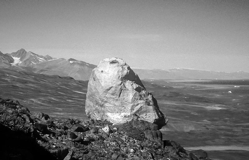 """A boulder above the main lateral moraine (the main """"trimline"""") near Mestersvig, sampled for cosmogenic exposure dating.  Photo: Lena Håkansson"""