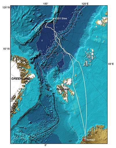 ACEX ships' tracks Tromsø- Lomonasov Ridge (13 August-6 September) - North Pole (7 September) - Tromsø (13 September) over the International Barymetric Chart of the Arctic Ocean (IBCAO).