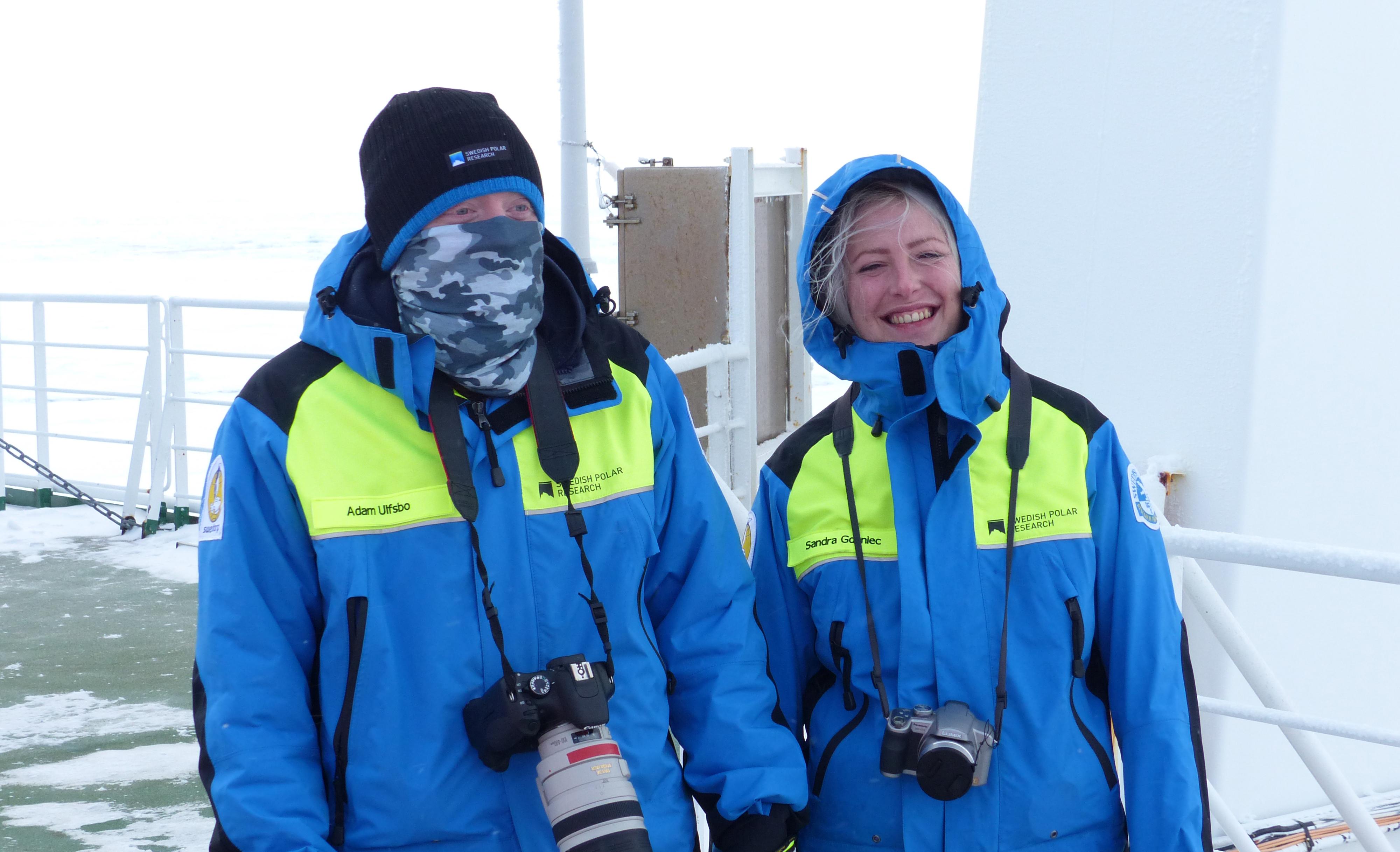 Adam Ulfsbo and Sandra Gdaniec, the two Swedish precipitants onboard Polarstern. Photo: Andreas Krell