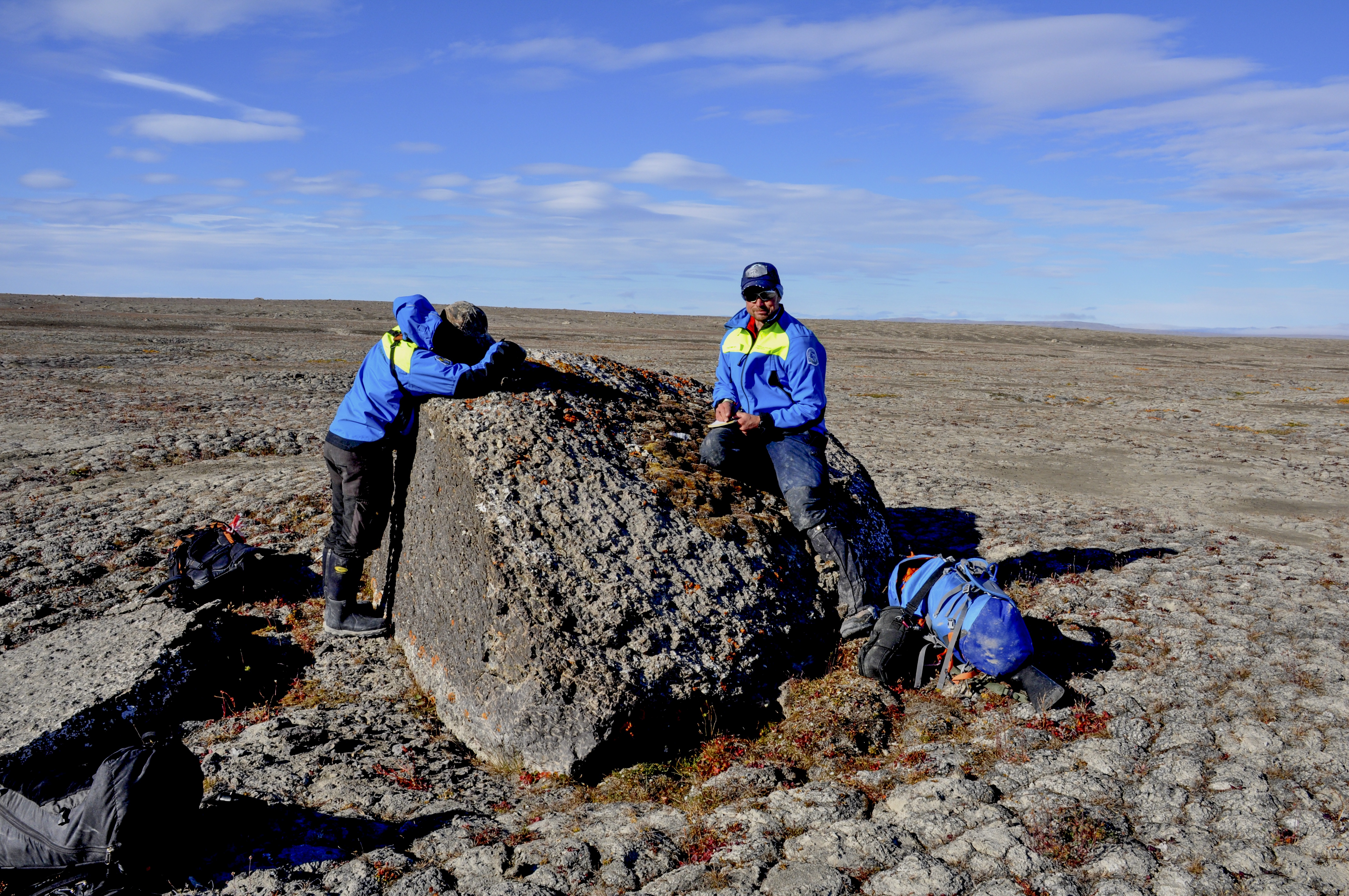 Examining a rock that has traces from a snowy owl. Photo: Åsa Lindgren