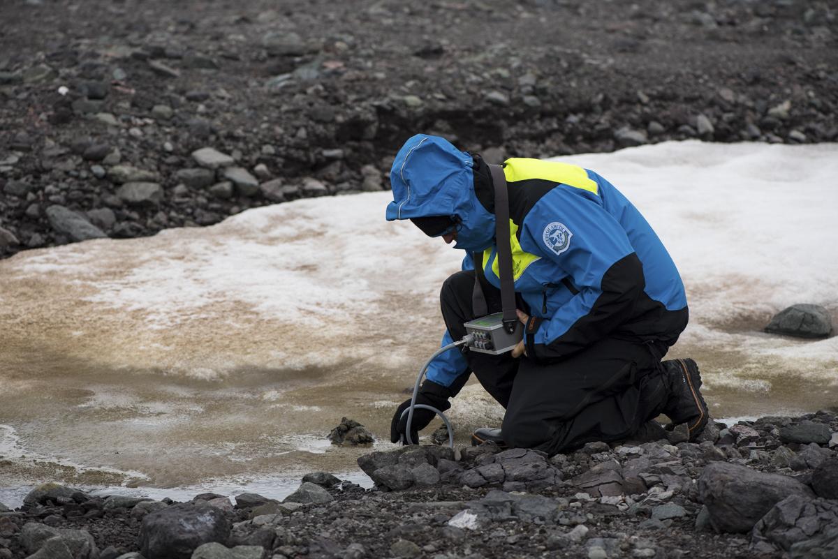 Mikael mäter fotosyntetisk effektivitet hos bottenlevande alger i en smältvattensbäck. Foto: Anders Torstensson
