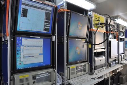 Bildskärmar visar seismikdata