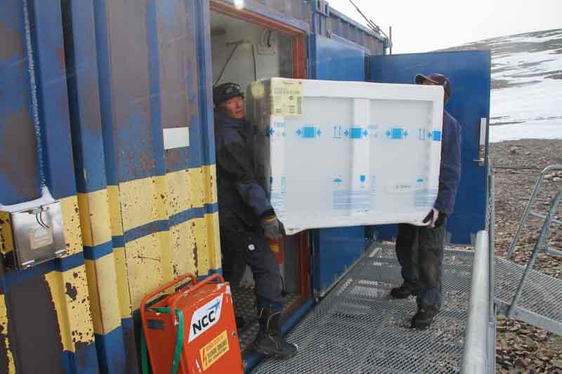 Två personer bär in en frysbox i en blå container.