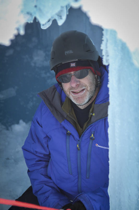 Neil Glasser in an ice cave