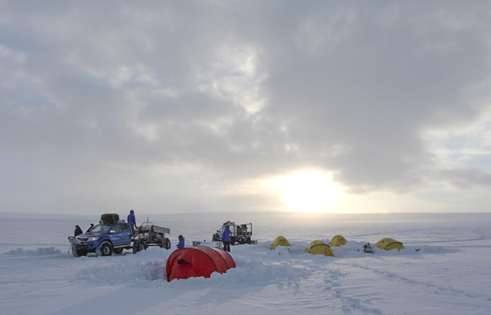 camp up at 2025 m on the Antarctic plateau on Milorgfjella