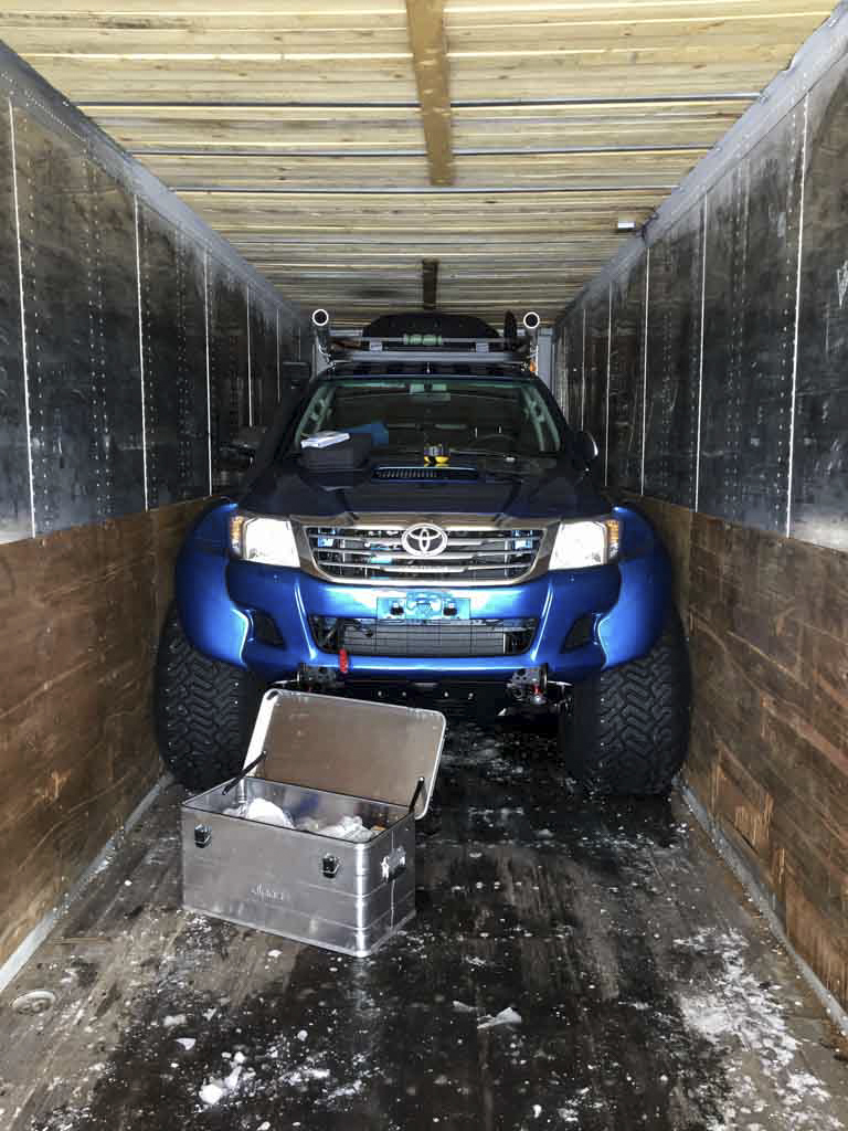 The 6x6 car in the garage container. Photo: Nat Lifton