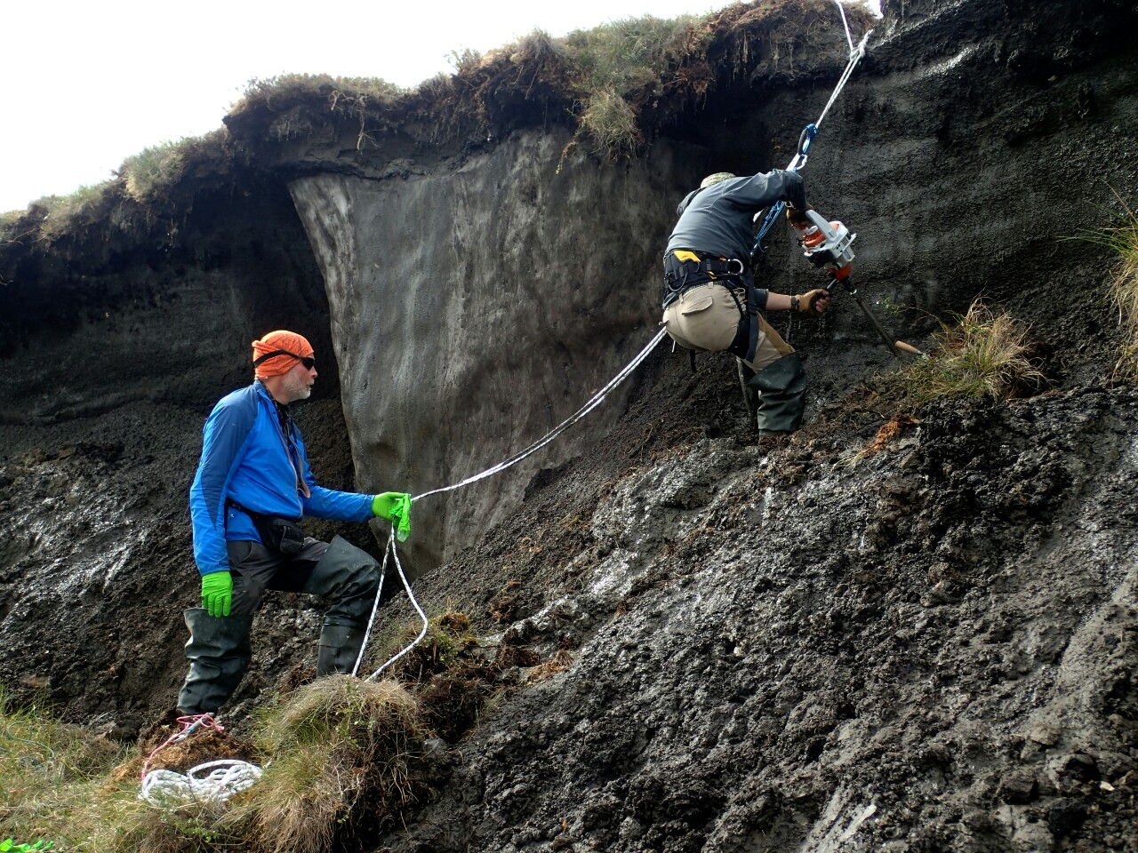 Taking samples of the permafrost