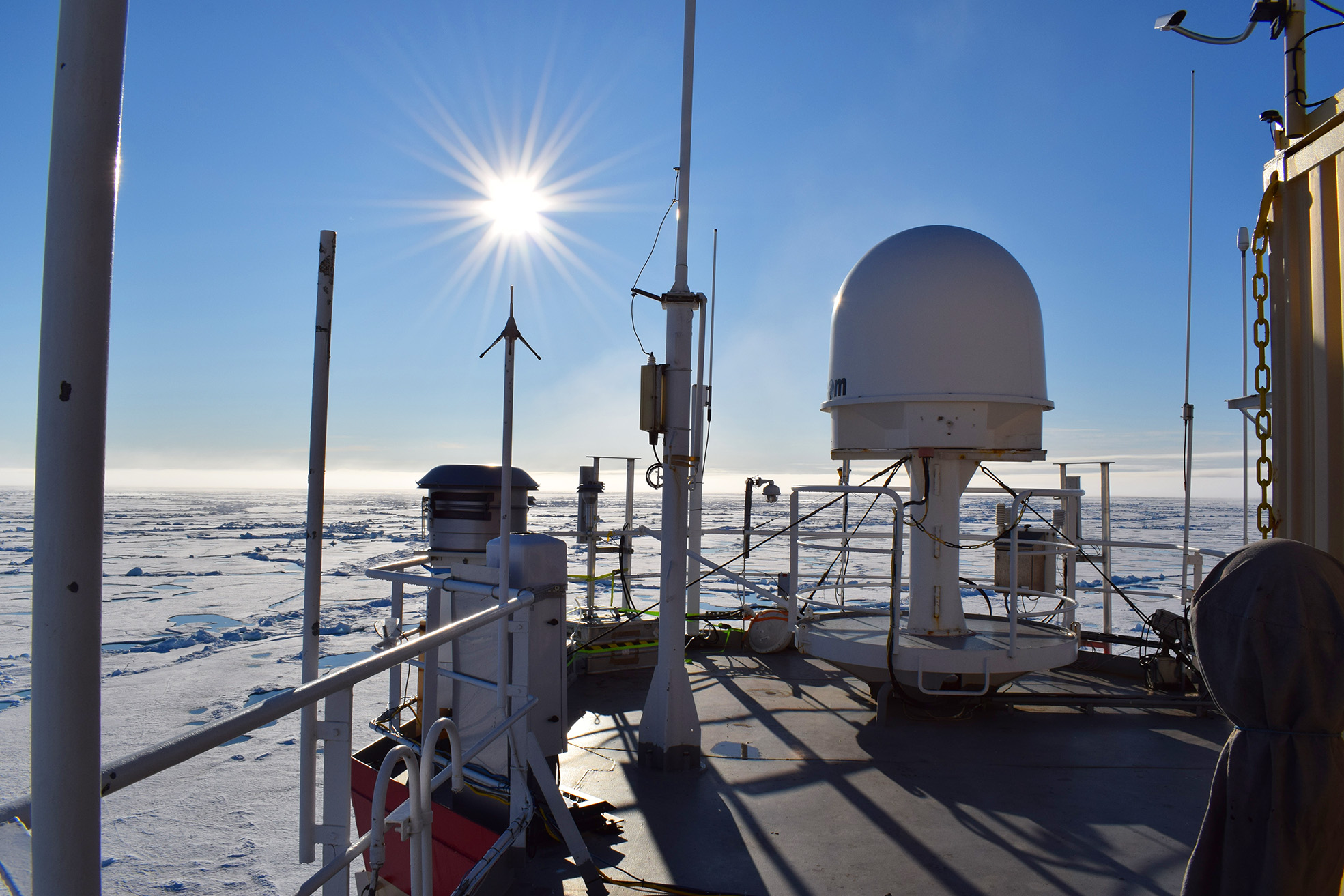 The 7th Deck of the Oden Icebreaker where aerosol sampling instruments were deployed. Photo: Grace Portera