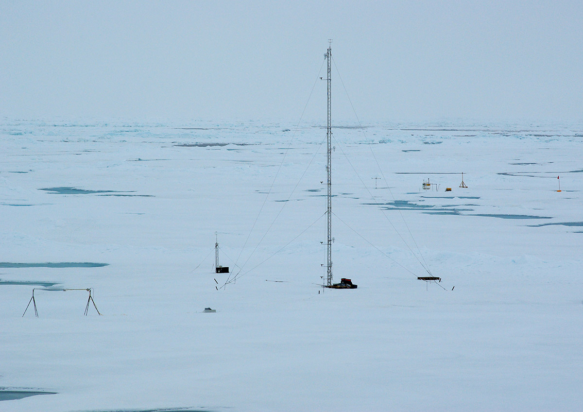 Mast on the sea ice