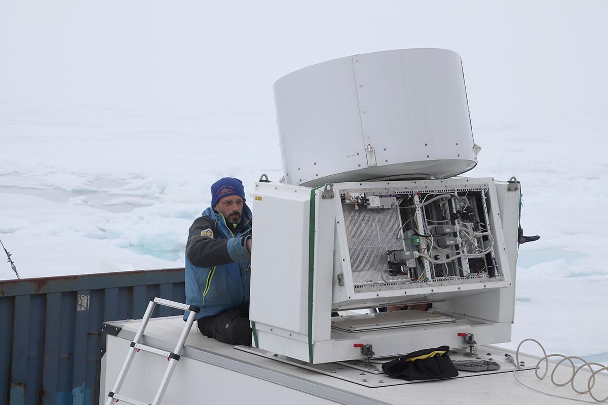 Ian Brooks working on the cloud radar